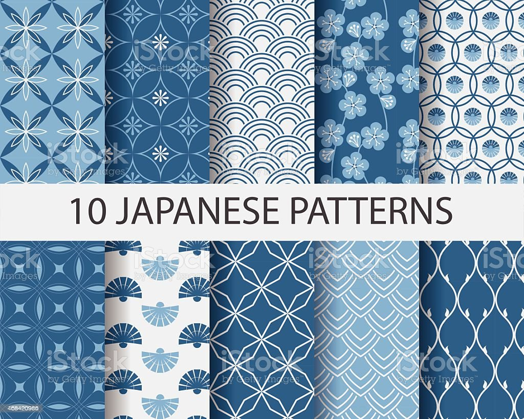 Ten Japanese geometric patterns in blue vector art illustration