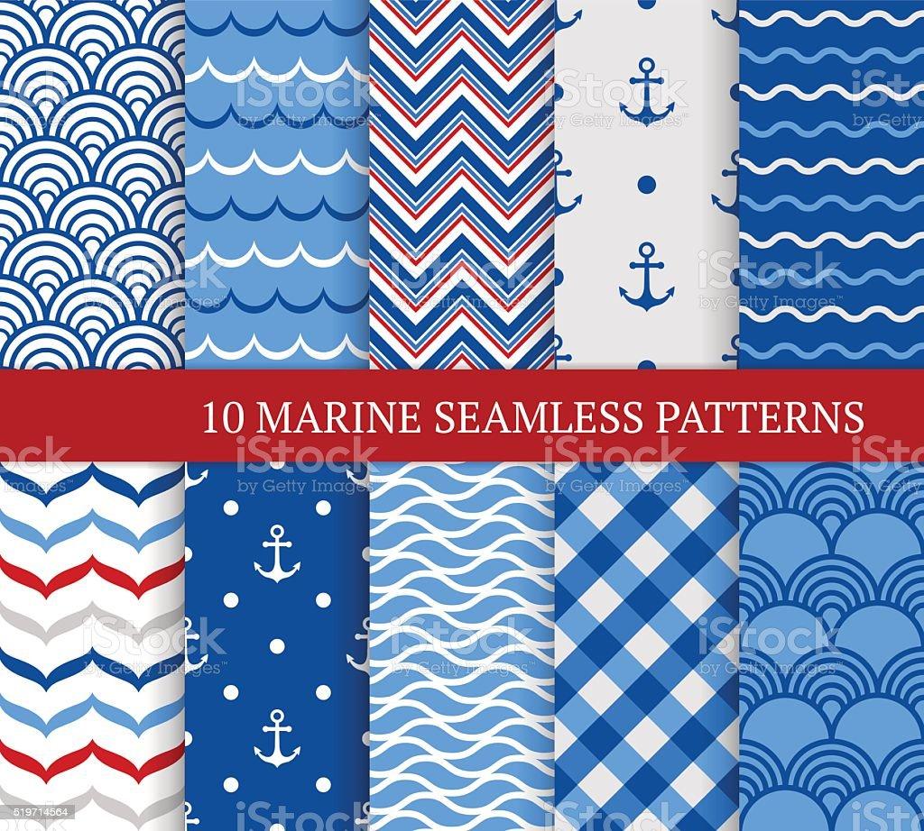 Ten marine different seamless patterns. vector art illustration