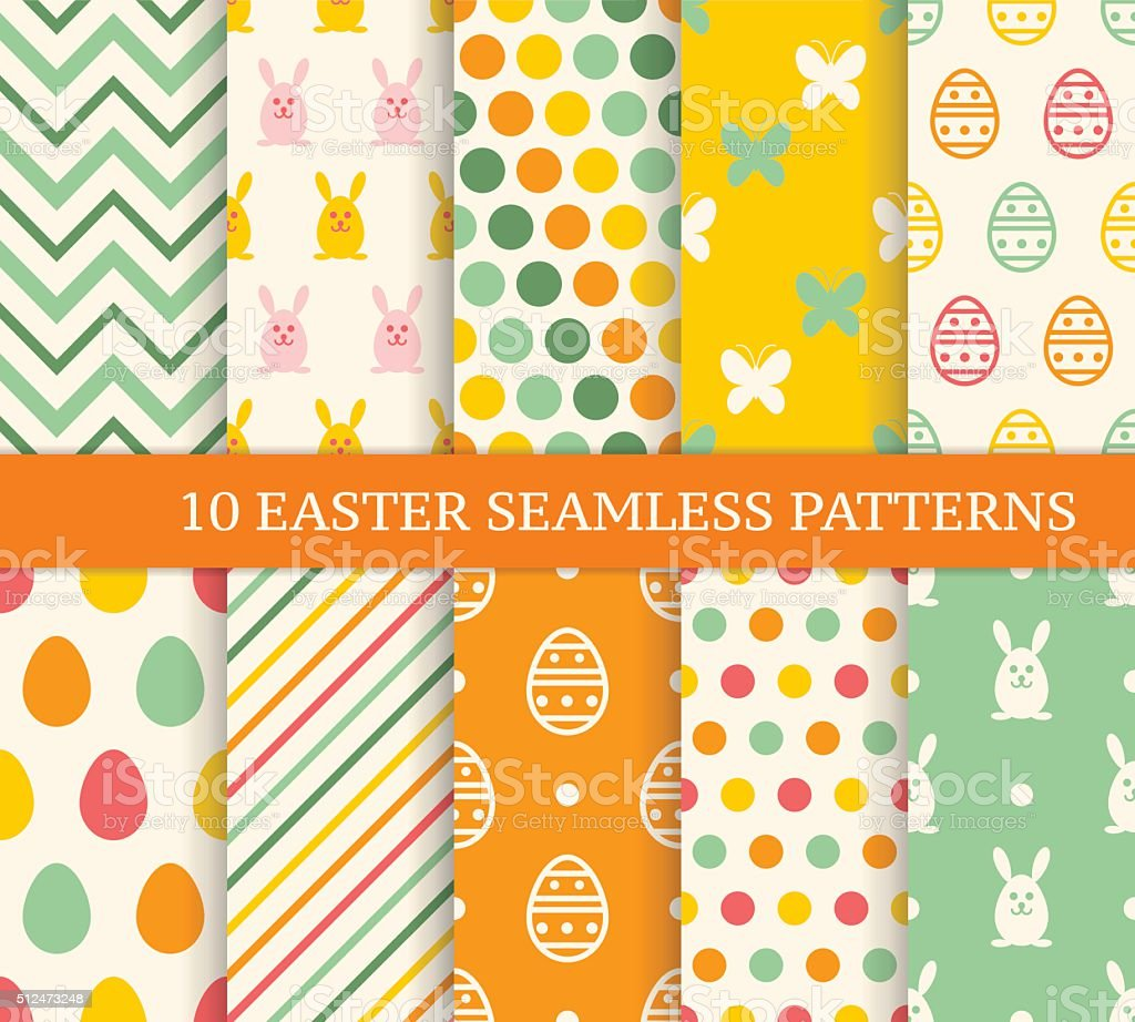Ten retro different easter seamless patterns. vector art illustration