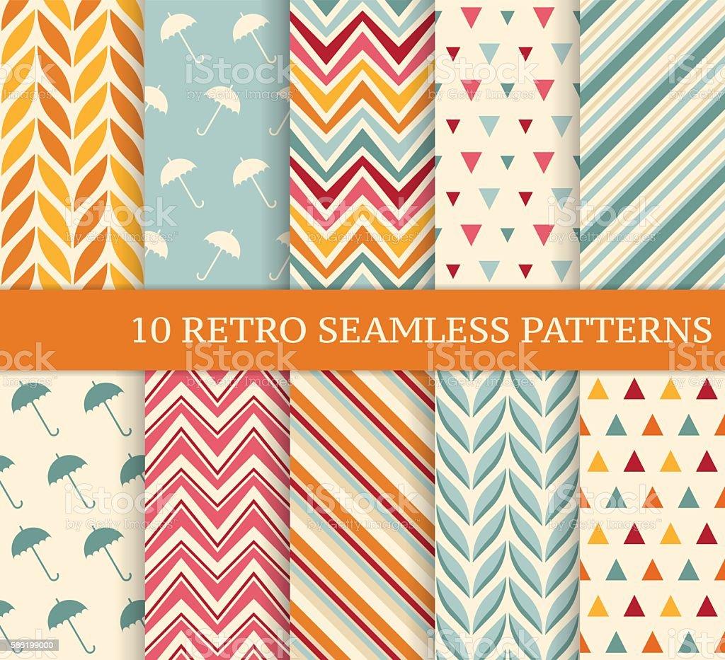 Ten retro different seamless patterns. vector art illustration