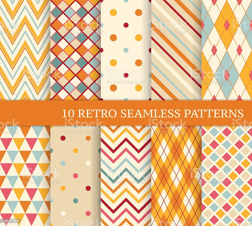Ten retro different soft seamless patterns vector art illustration