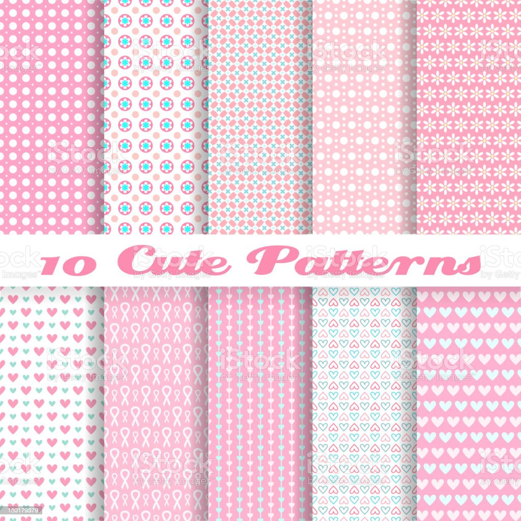 Ten seamless pink vector wallpaper patterns vector art illustration