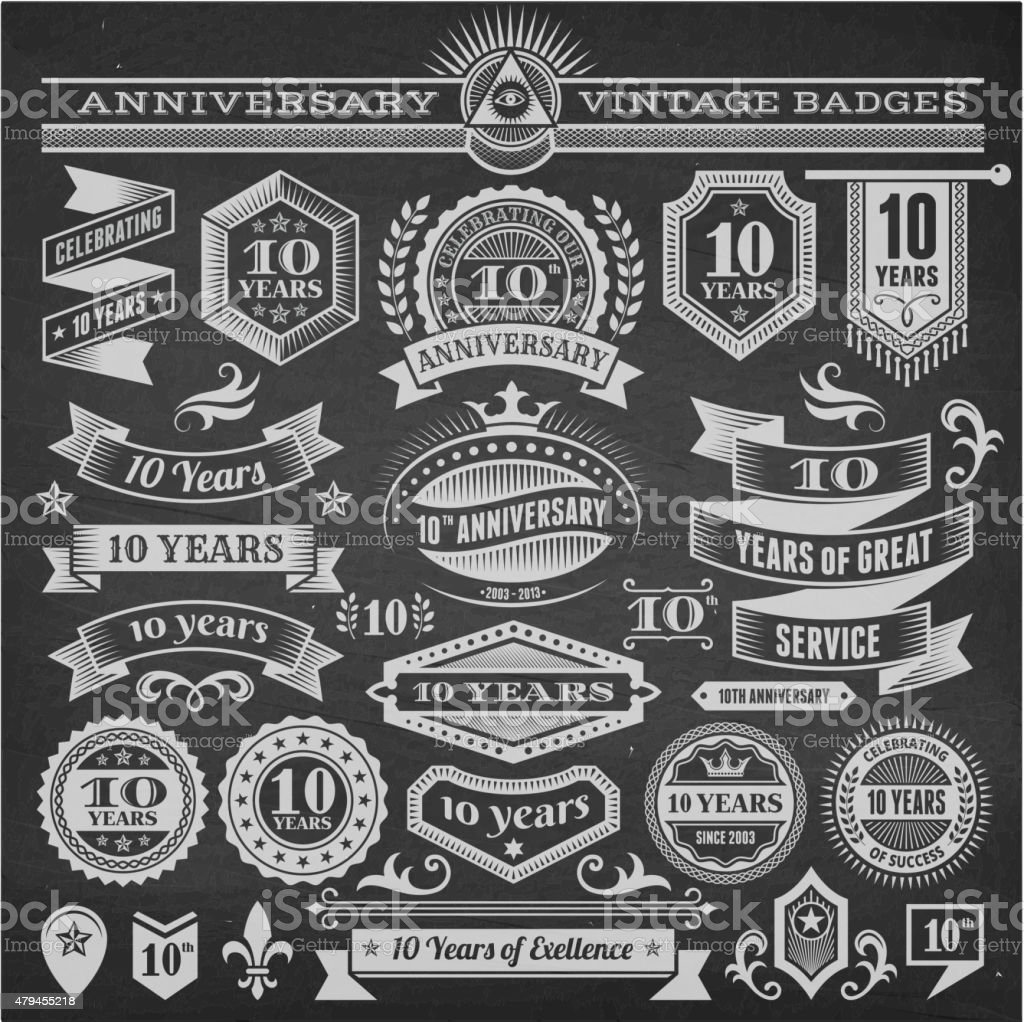 ten year anniversary hand-drawn chalkboard royalty free vector background vector art illustration