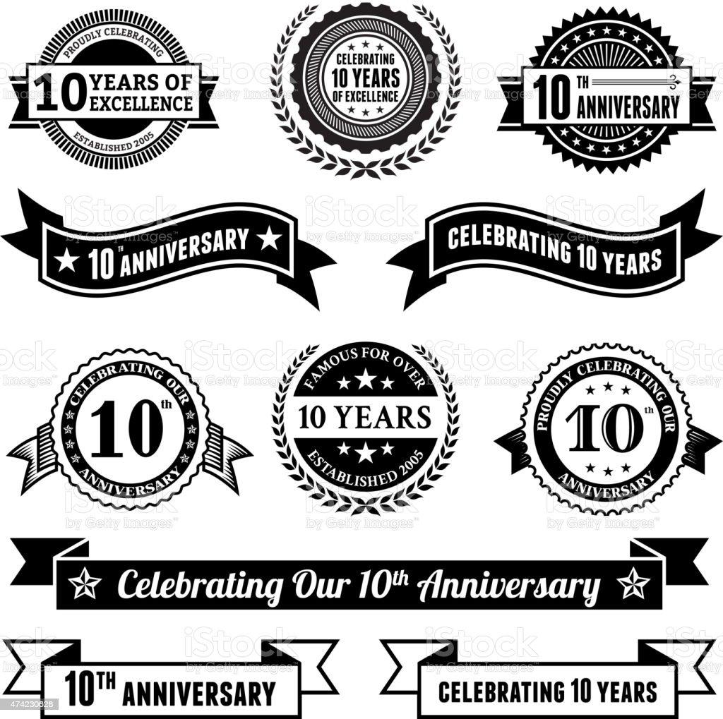Ten year anniversary vector badge set royalty free