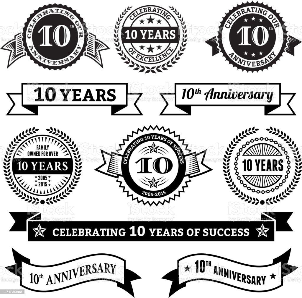 ten year anniversary vector badge set royalty free vector background vector art illustration