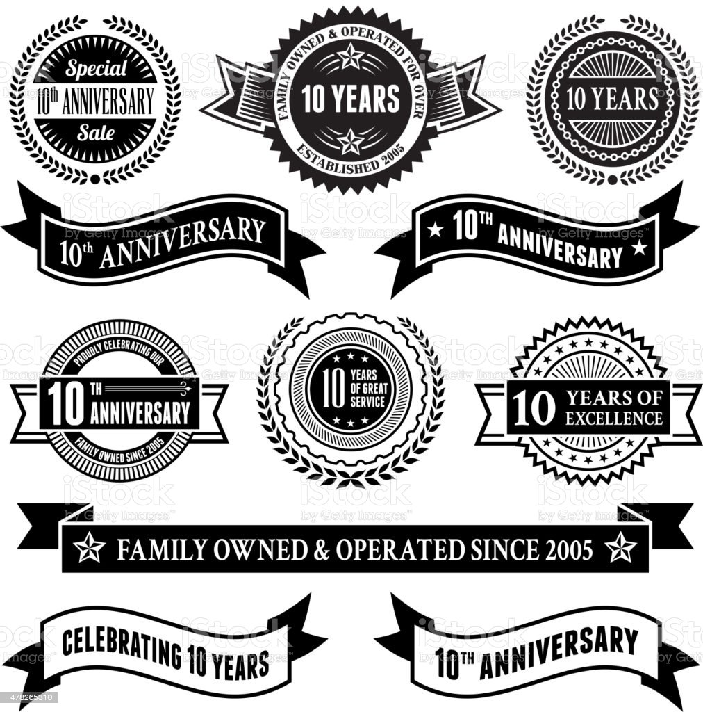ten year anniversary vector badge set royalty free vector background vector art illustration
