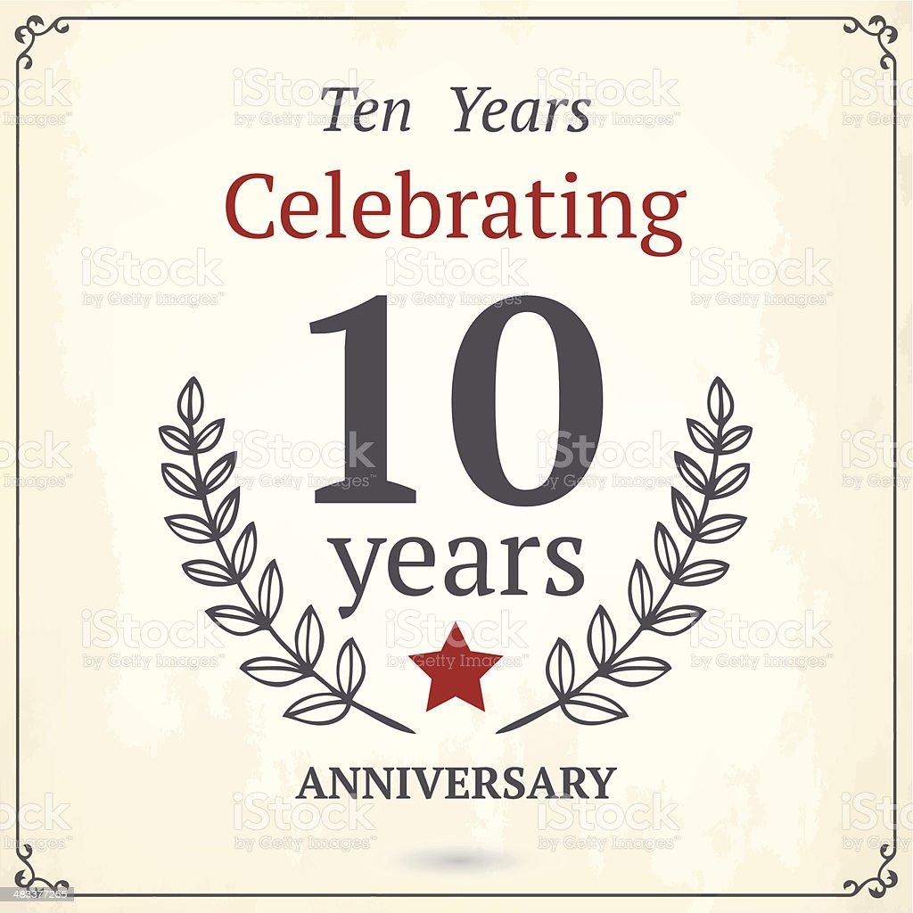 Ten years anniversary card royalty-free stock vector art