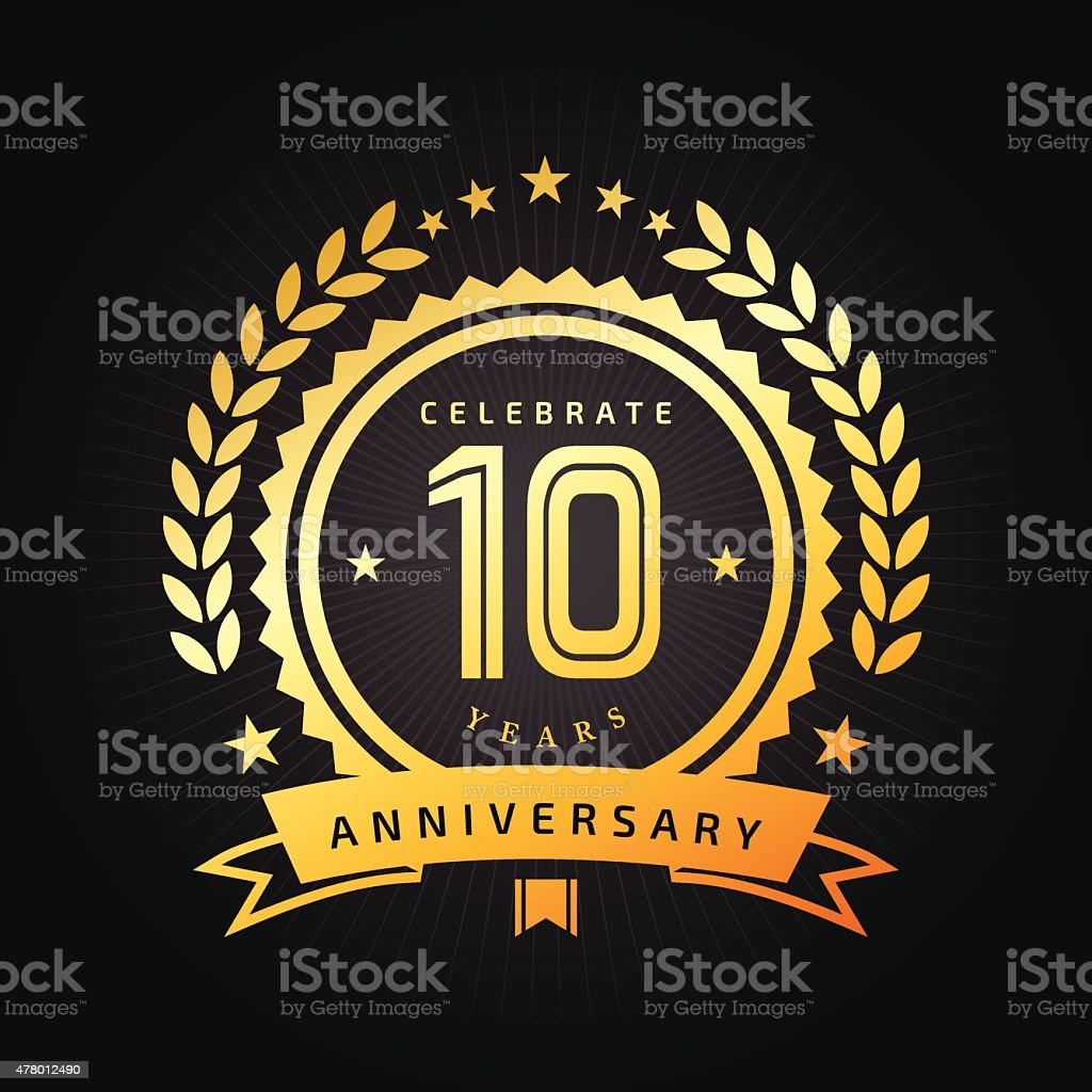 Ten years Anniversary emblem vector art illustration
