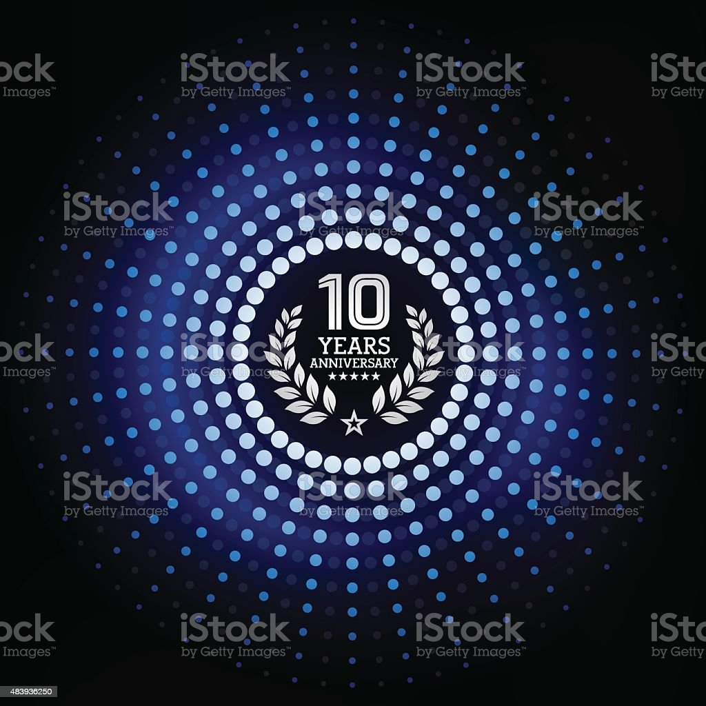 Ten years anniversary with blue background vector art illustration