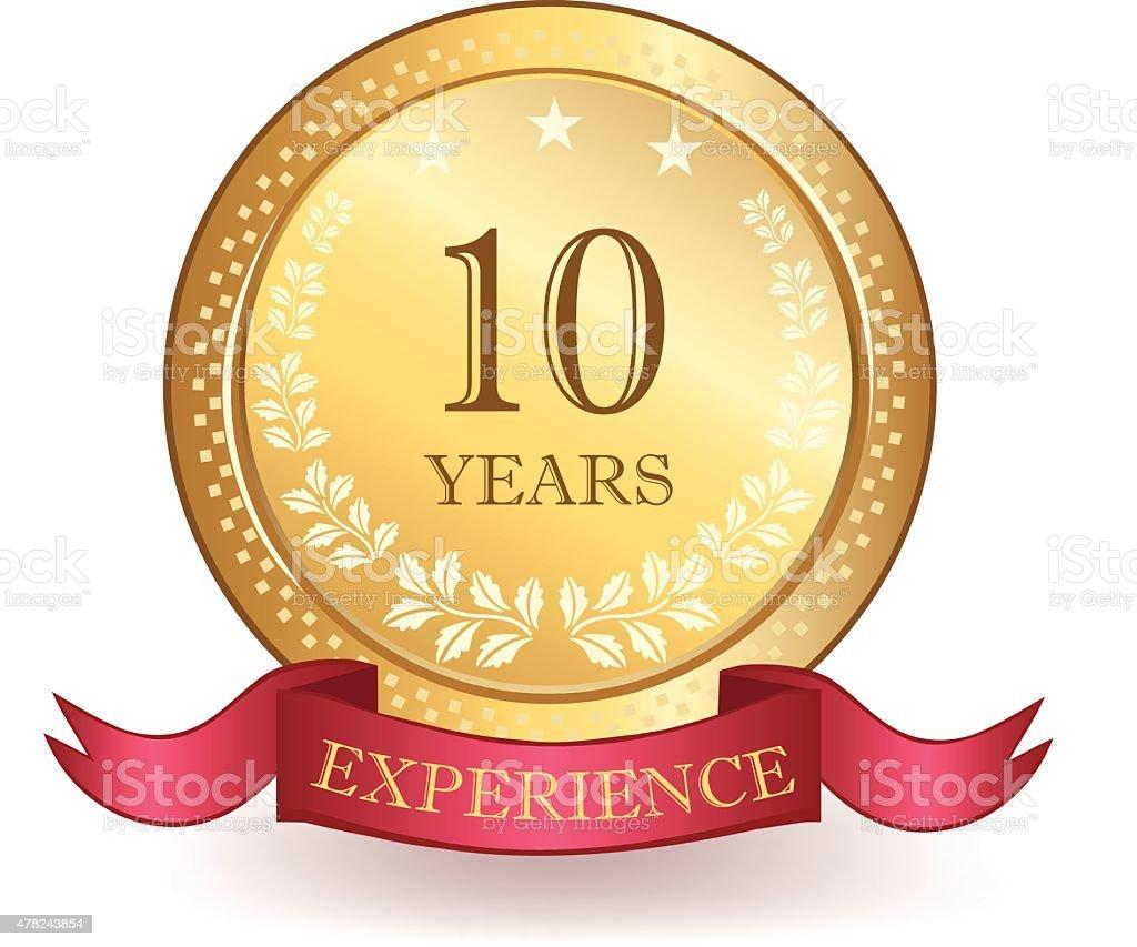 Ten Years Experience Banner vector art illustration