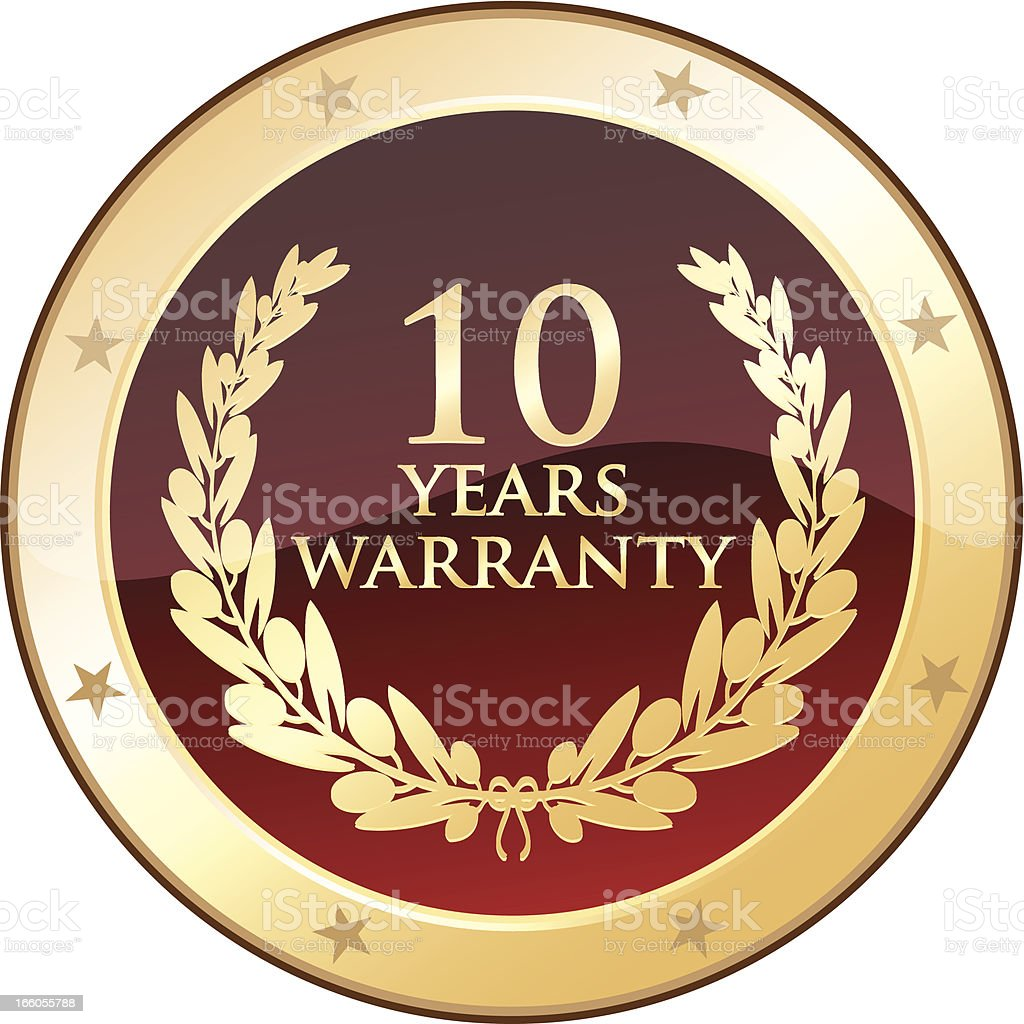 Ten Years Warranty royalty-free stock vector art