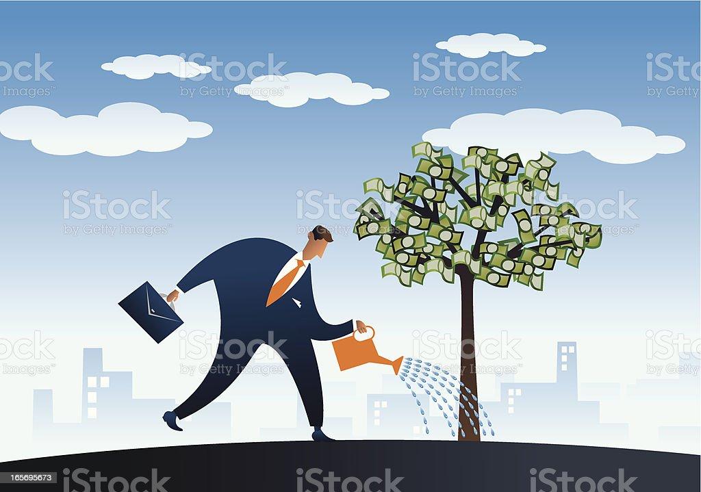 Tending the tree of money royalty-free stock vector art