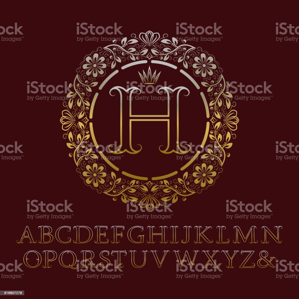 Tendrils gold contour letters with H initial monogram. vector art illustration