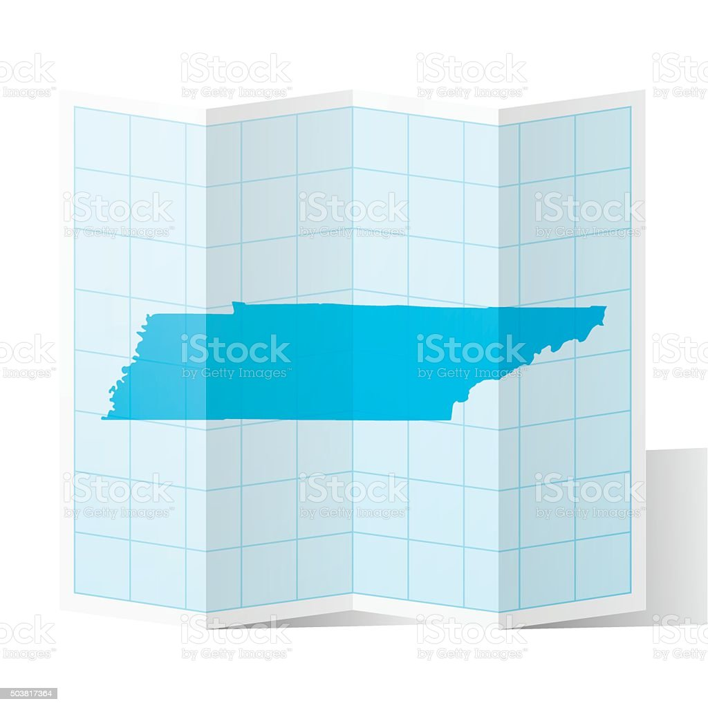 Tennessee Map folded, isolated on white Background vector art illustration