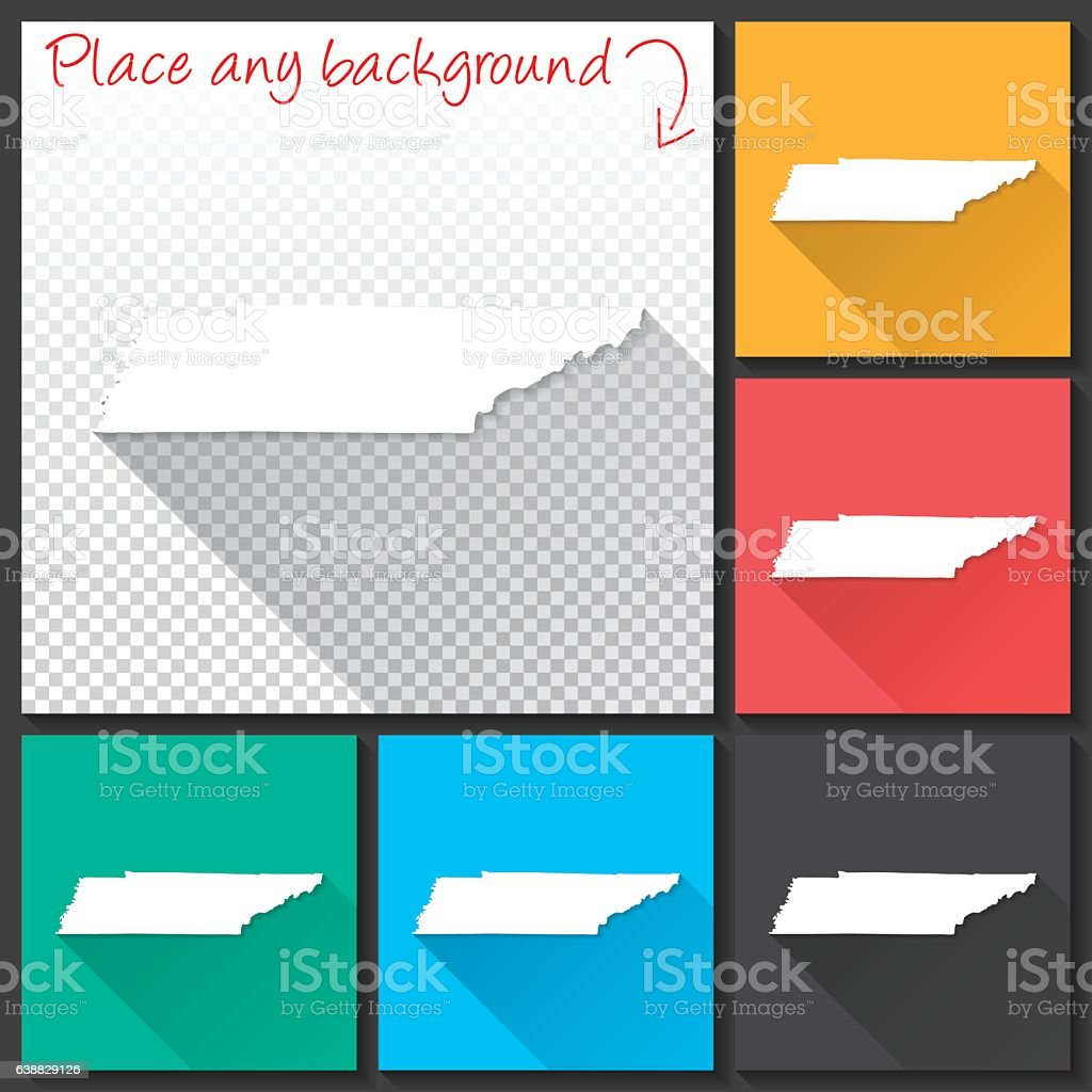 Tennessee Map for design, Long Shadow, Flat Design vector art illustration