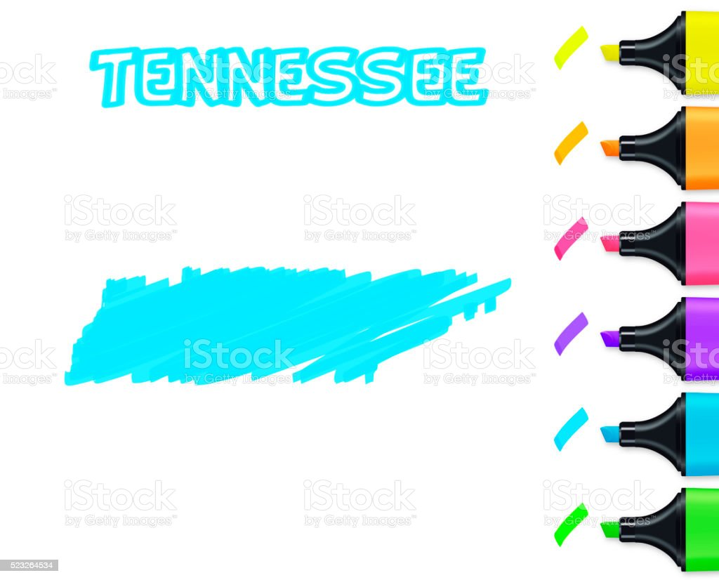 Tennessee map hand drawn on white background, blue highlighter vector art illustration