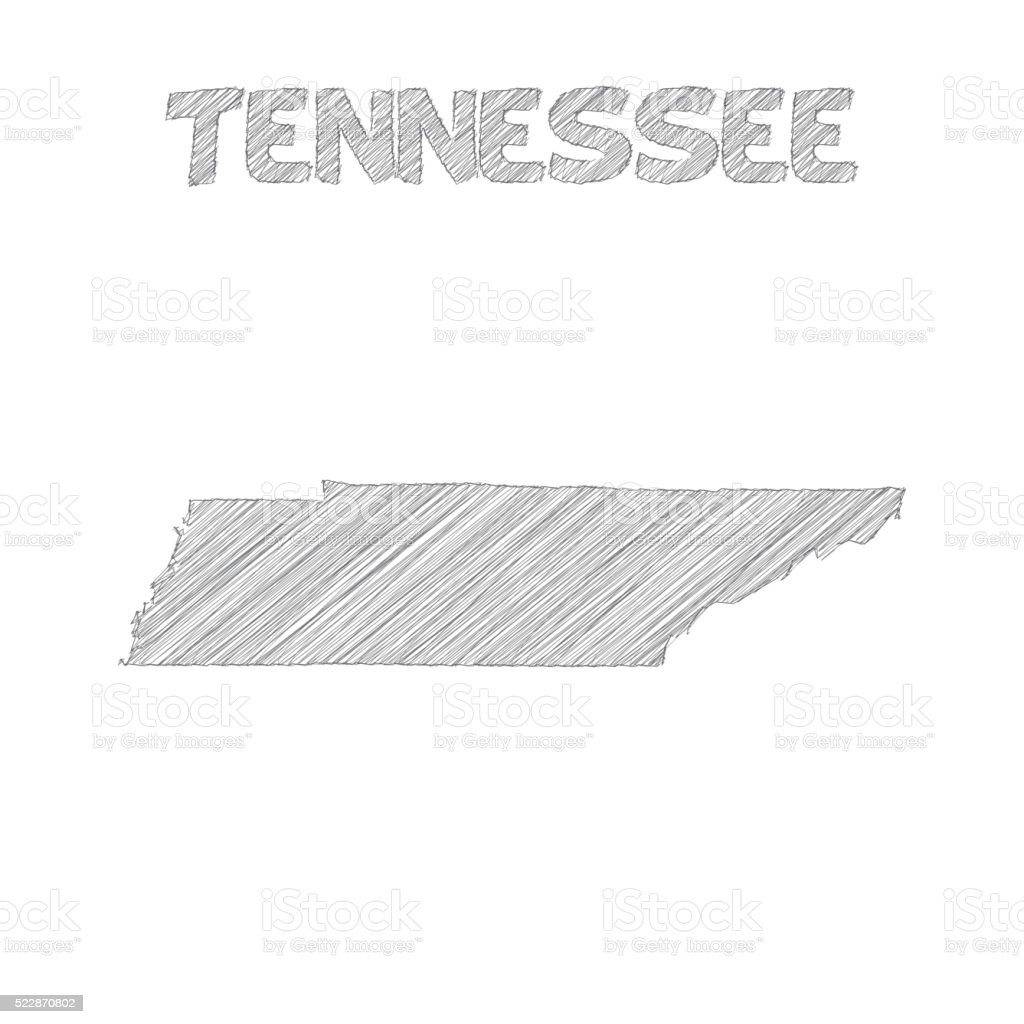 Tennessee map hand drawn on white background vector art illustration