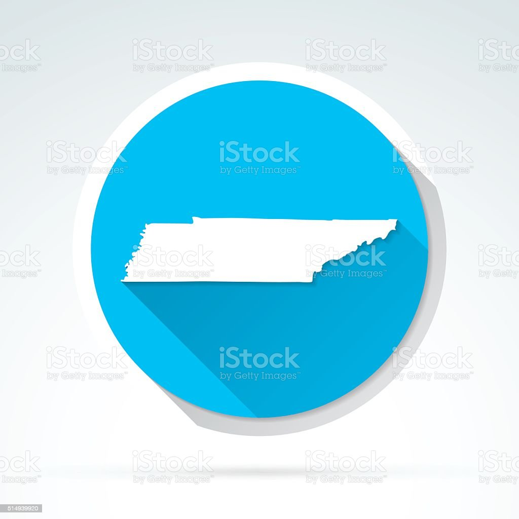 Tennessee map icon, Flat Design, Long Shadow vector art illustration