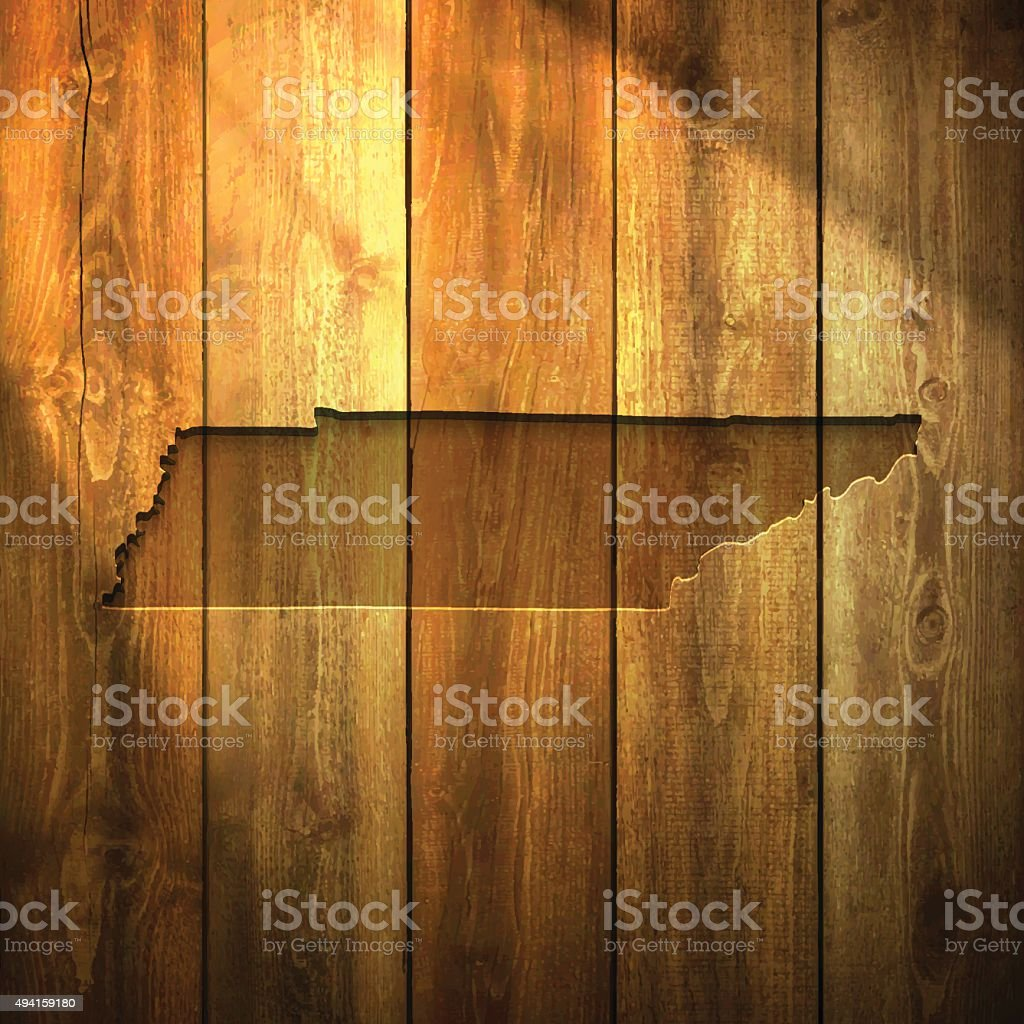 Tennessee Map on lit Wooden Background vector art illustration