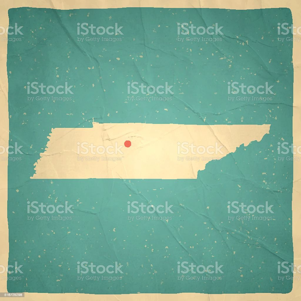 Tennessee Map on old paper - vintage texture vector art illustration