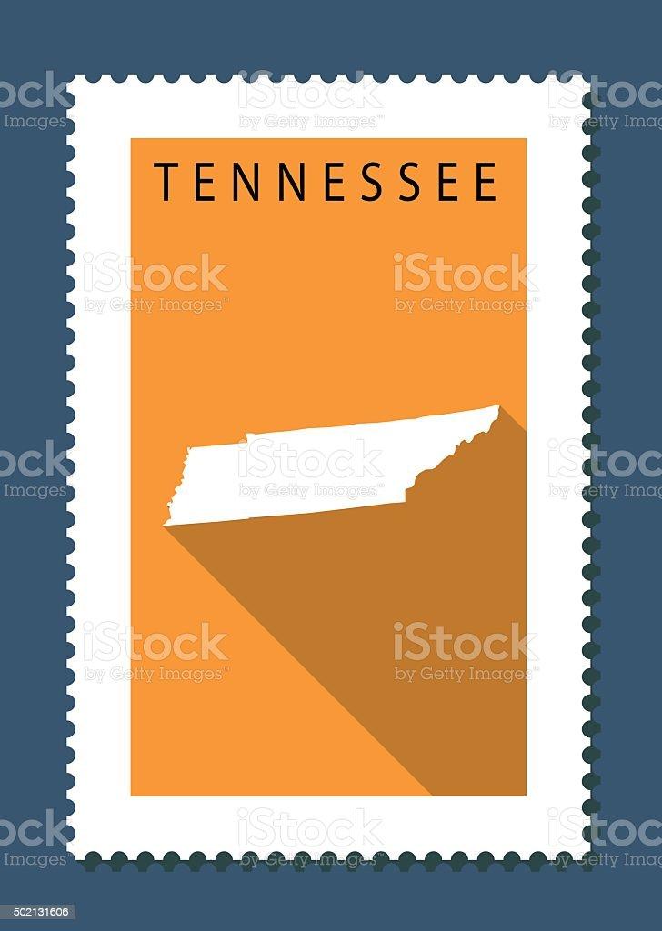 Tennessee Map on Orange Background, Long Shadow, Flat Design,stamp vector art illustration