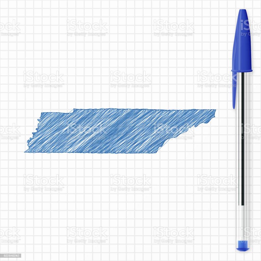 Tennessee map sketch on grid paper, blue pen vector art illustration