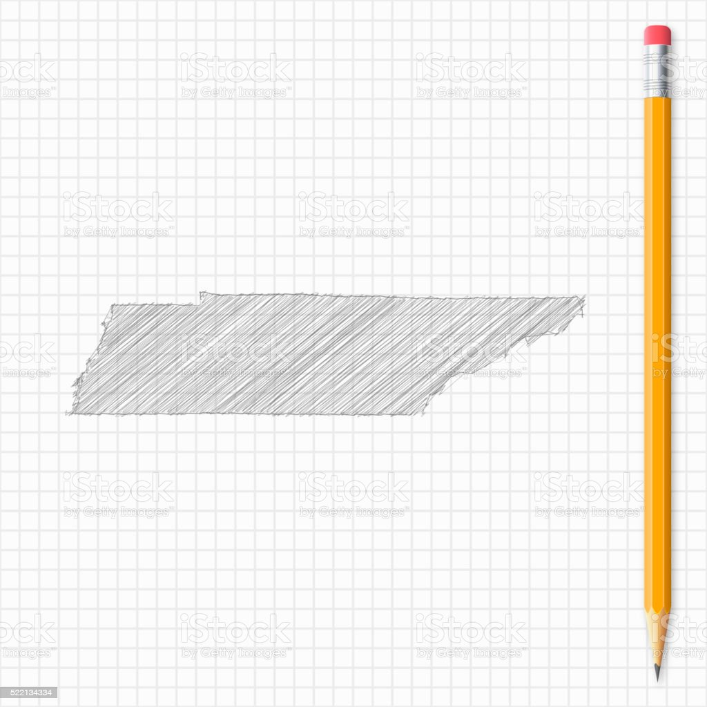 Tennessee map sketch with pencil on grid paper vector art illustration