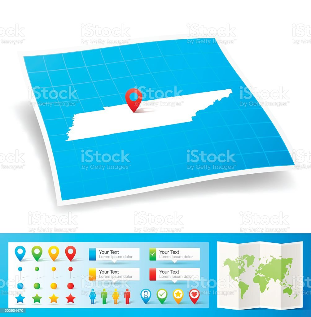 Tennessee Map with location pins isolated on white Background vector art illustration