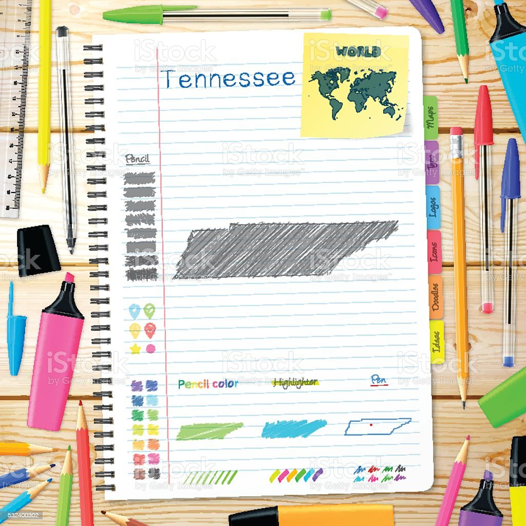 Tennessee maps hand drawn on notebook. Wooden Background vector art illustration