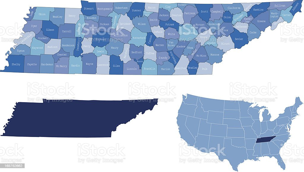 Tennessee state & counties map vector art illustration
