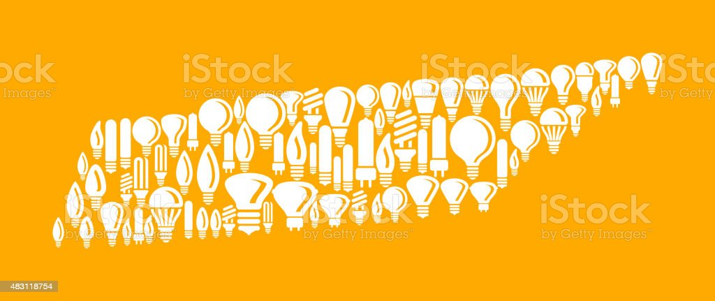 Tennessee State on Vector Lightbulb Pattern Background vector art illustration