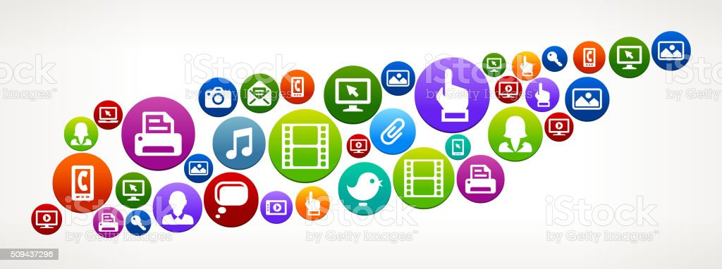Tennessee Technology Internet and Web Media Icon Pattern vector art illustration