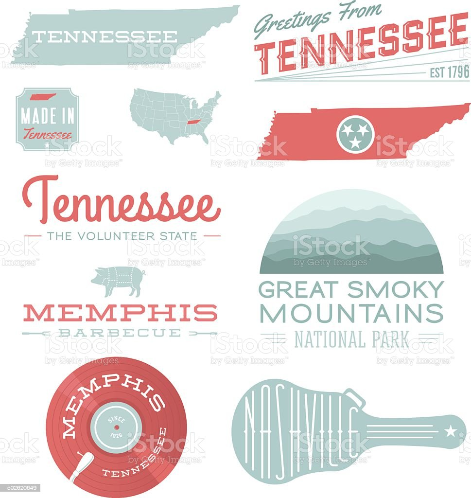 Tennessee Typography vector art illustration