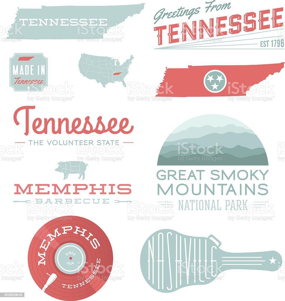 Tennessee Typography vector art illustration