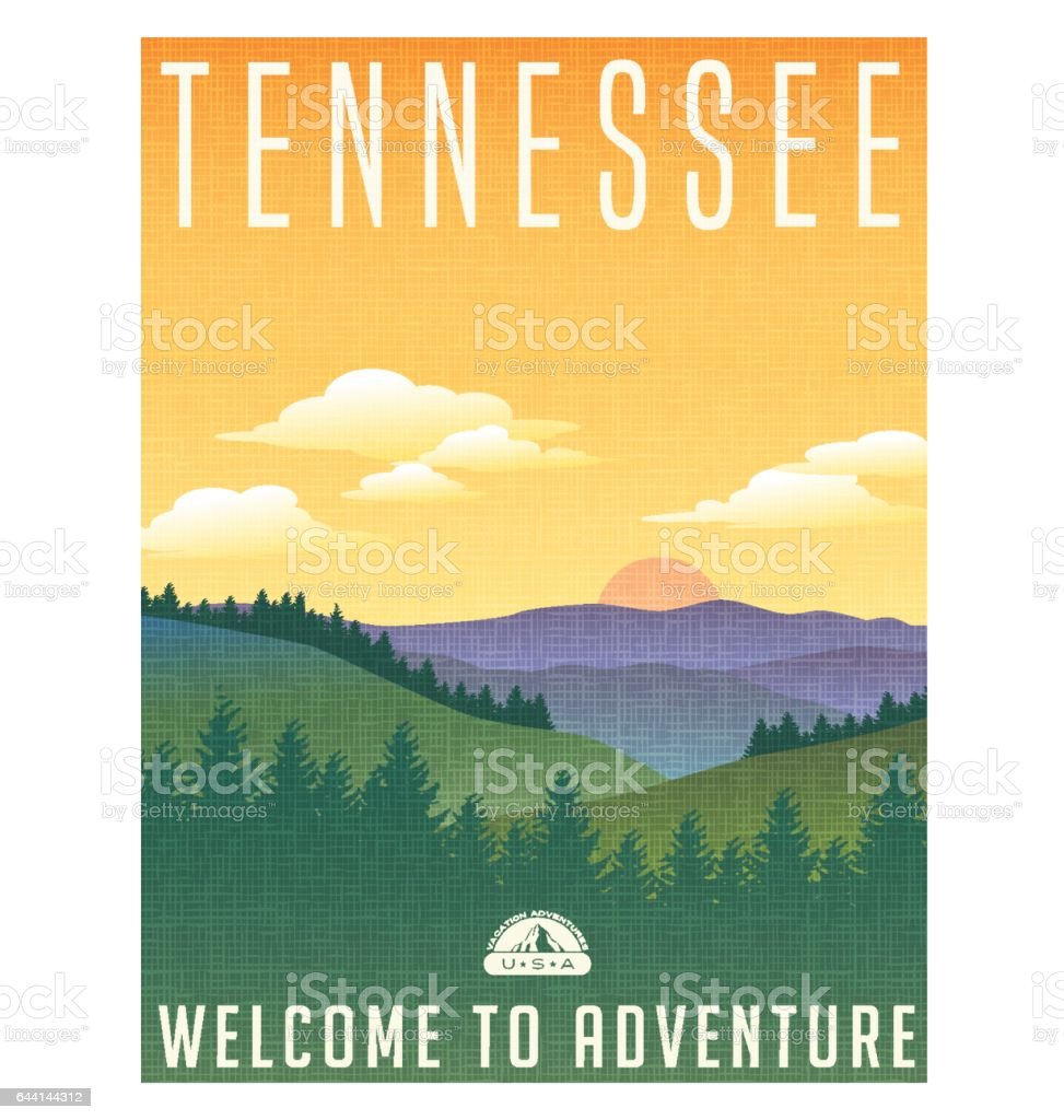 Tennessee, United States travel poster or luggage sticker. Scenic illustration of the Great Smoky Mountains with pine trees and sunrise. vector art illustration