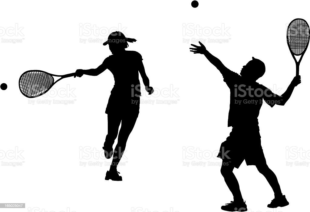 Tennis action silhouette royalty-free stock vector art