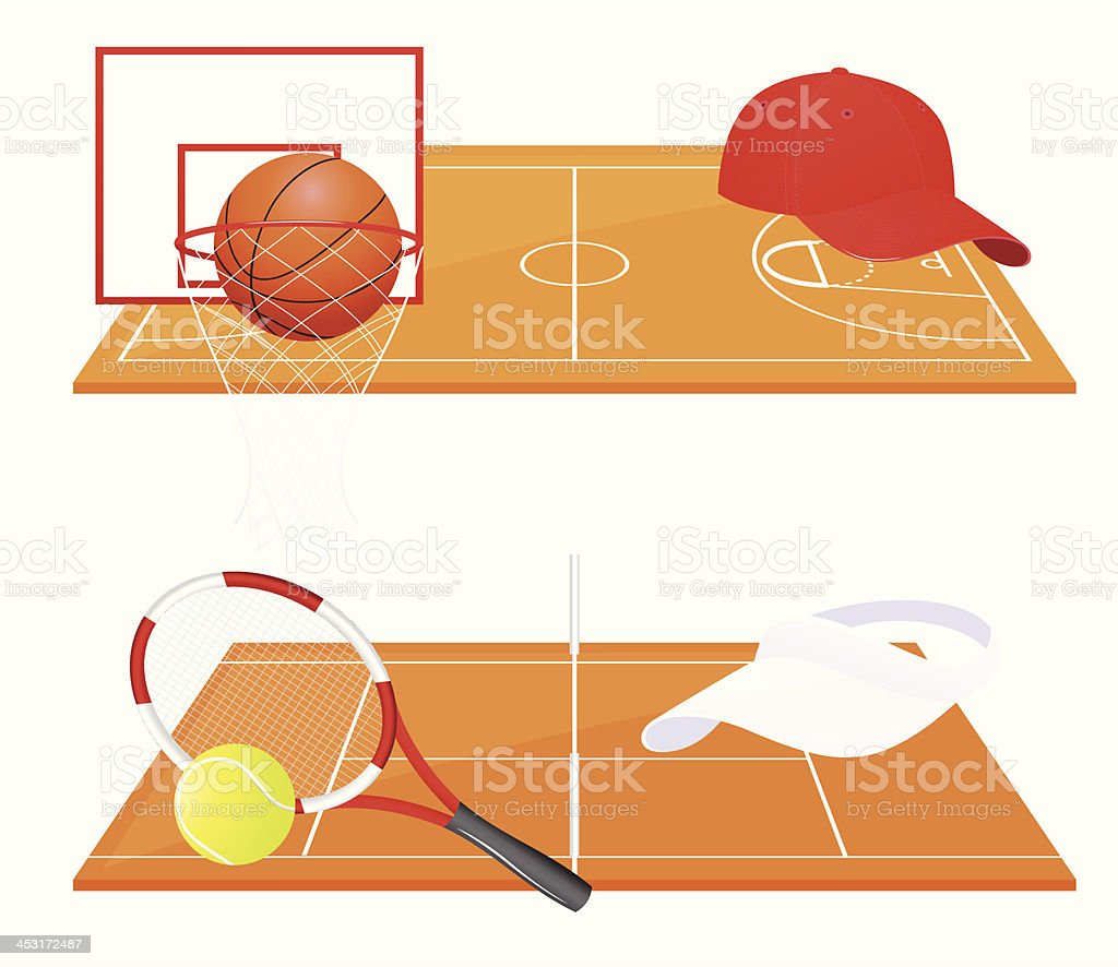 Tennis and basketball backgrounds vector art illustration