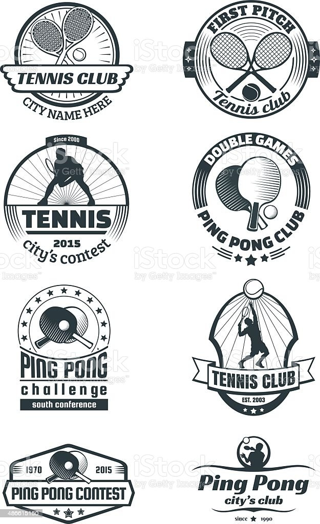Tennis and ping-pong emlems vector art illustration