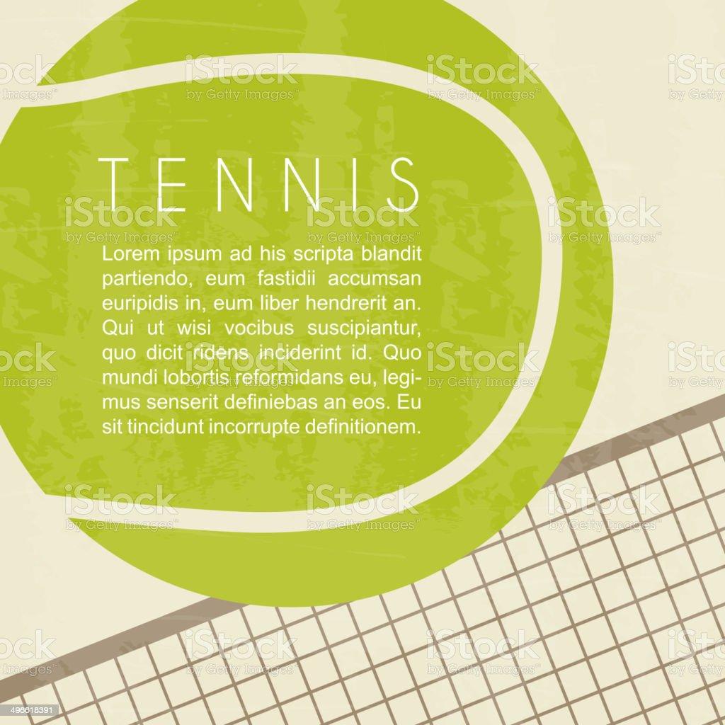 Tennis ball and net design vector art illustration