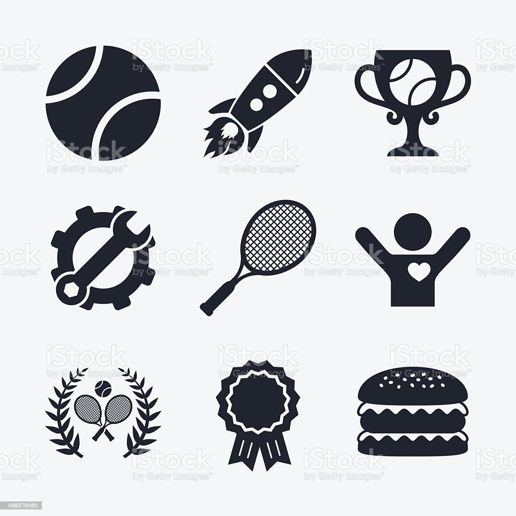 Tennis ball and rackets icons. Laurel wreath vector art illustration