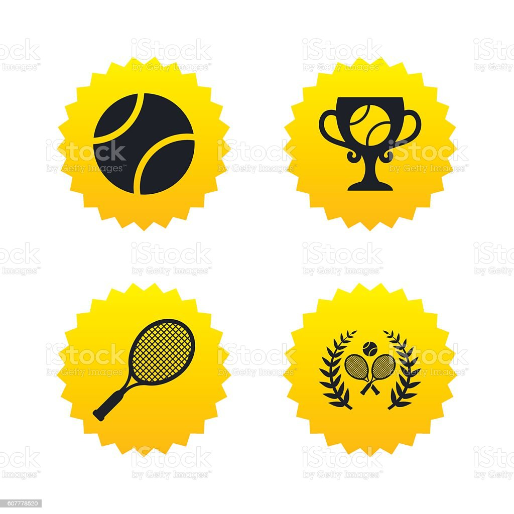 Tennis ball and rackets icons. Laurel wreath. vector art illustration