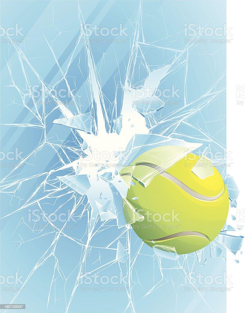 tennis ball & broken glass royalty-free stock vector art
