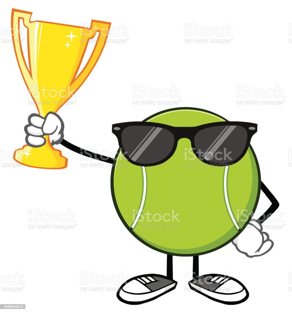 Tennis ball mascot stock photos tennis ball mascot stock photography - Tennis Ball Faceless Cartoon Mascot Character With Sunglasses Holding A Trophy Cup Royalty Free Stock