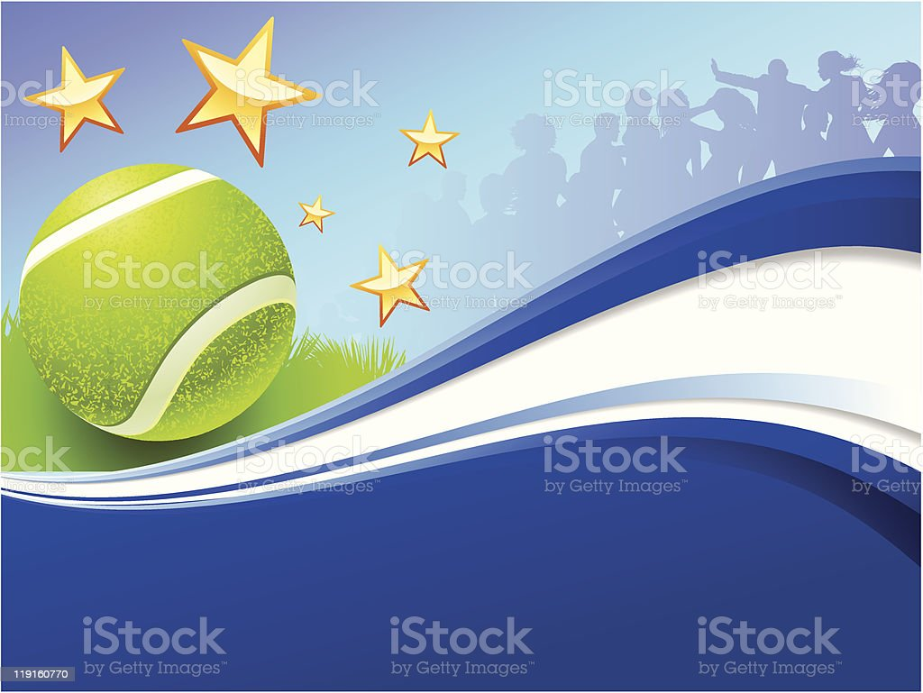 Tennis Ball on Abstract Party Background royalty-free stock vector art