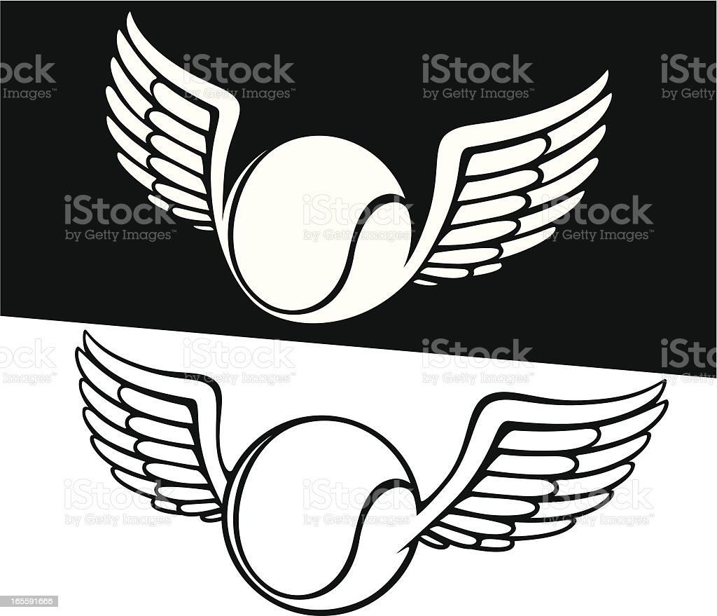Tennis ball with wing vector art illustration
