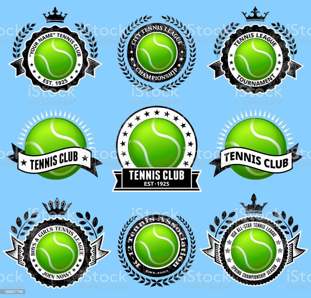 Tennis Ballblack & white Badges vector icon set royalty-free stock vector art