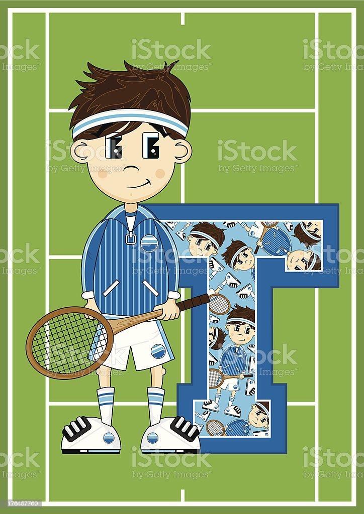Tennis Boy Learning Letter T vector art illustration