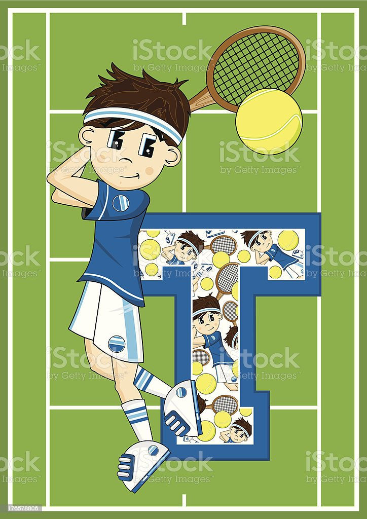 Tennis Boy Learning Letter T royalty-free stock vector art