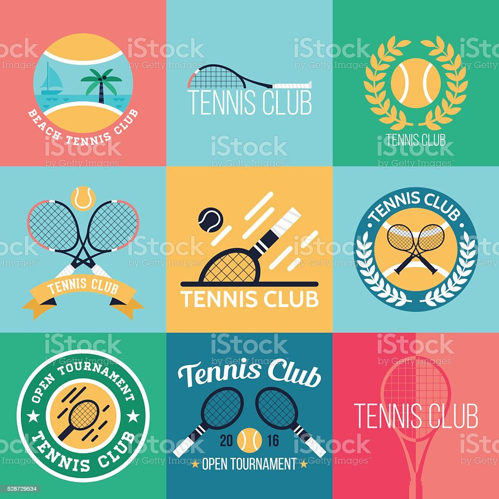Tennis club badge set for graphic, web and logo design vector art illustration