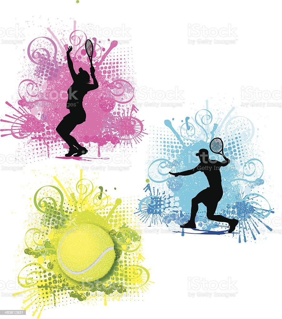 Tennis Color Splash Graphics - Male and Female vector art illustration